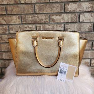 Michael Kors Selma gold leather satchel handbag